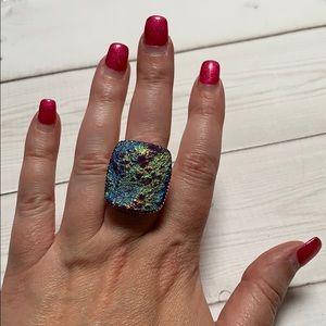 Titanium druzy sterling silver ring